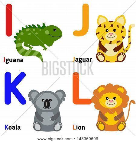 Cute zoo alphabet in vector. I, j, k, l. Funny cartoon animals: iguana, jaguar, koala, lion.