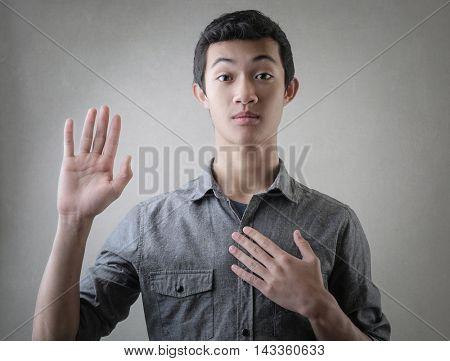 Guy swearing something
