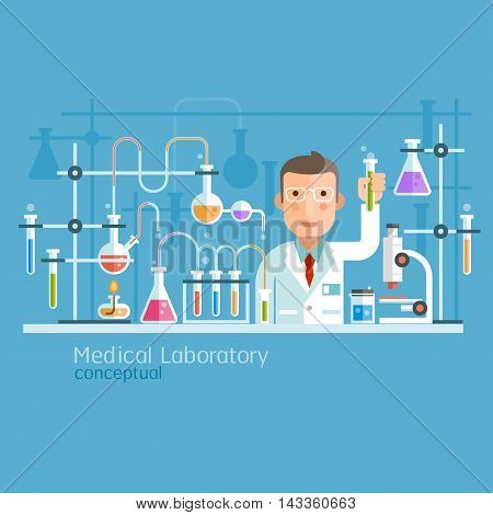 Medical Laboratory Conceptual flat style. Vector Illustration.