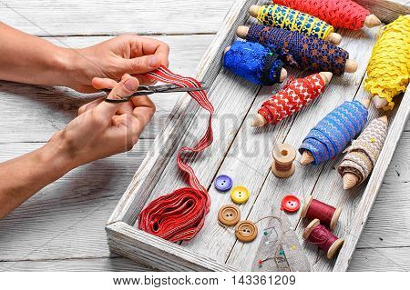 Tools Of Seamstress For Needlework