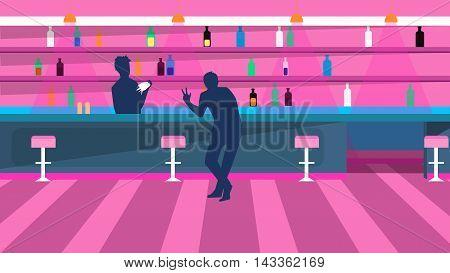Vector illustration bar bartender and visitor drink