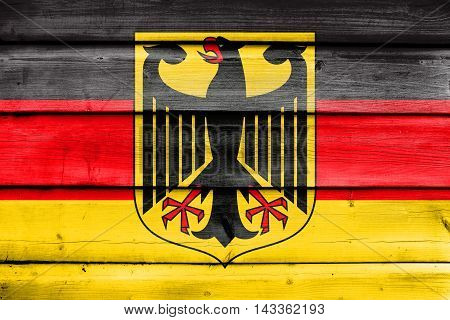 Flag Of Germany With Coat Of Arms, Painted On Old Wood Plank Background
