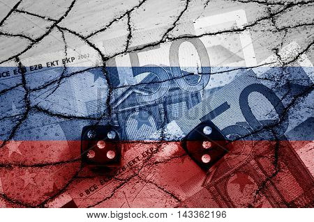 50 euros banknotes, dices, cracks and Russian flag