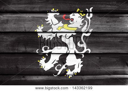 Flag Of Ghent, Belgium, Painted On Old Wood Plank Background