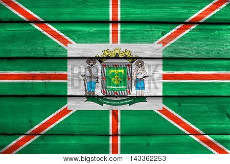 Flag Of Goiania, Goias State, Brazil, Painted On Old Wood Plank Background