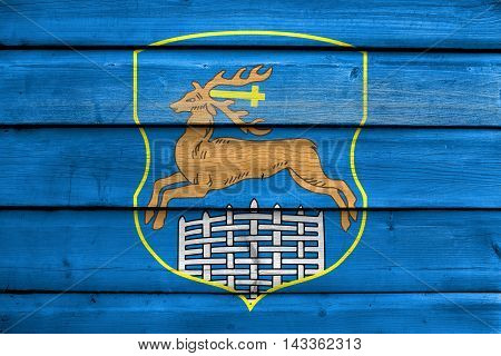 Flag Of Grodno, Belarus, Painted On Old Wood Plank Background