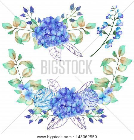 A set of the watercolor bouquets with the blue Hydrangea flowers, bluebell flowers and green leaves and plants, flower combinations, isolated wreath decoration, painted on a white background