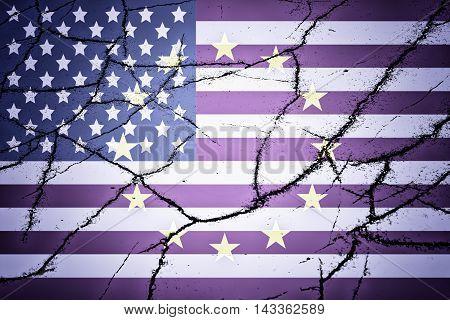 USA flag, EU flag and cracks - Politic concept