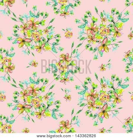Seamless floral pattern with yellow flowers, pink and green on the branches with green leaves painted hand-drawing in watercolor on a pink background