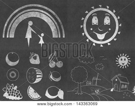 Set of chalkboard drawings with chalk on black board