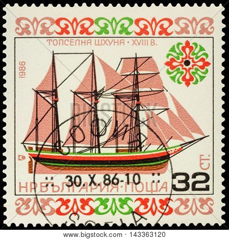 MOSCOW RUSSIA - AUGUST 18 2016: A stamp printed in Bulgaria shows old schooner (XVIII century) series