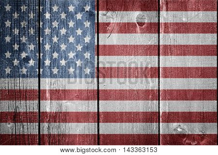 USA flag on wood background - flag concept