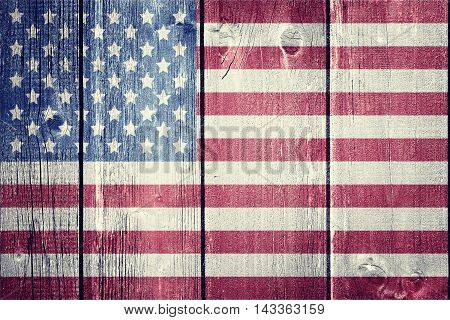 Vintage USA flag on wood background - flag concept