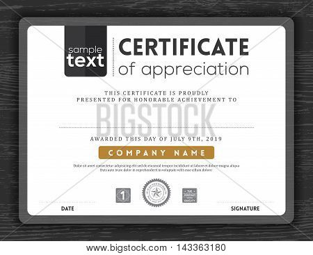 Simple black and white certificate of appreciation border background frame design template