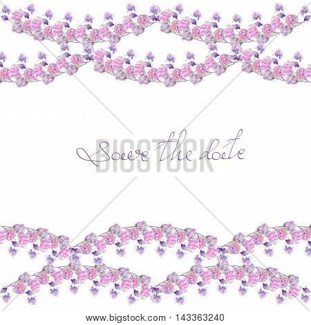 Frame border, template for postcard with purple and pink flowers painted in watercolor  on a white background, greeting card, decoration postcard or invitation