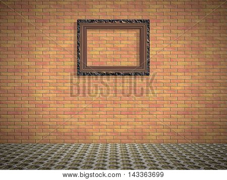 Empty room with picture generated texture, 3D illustration