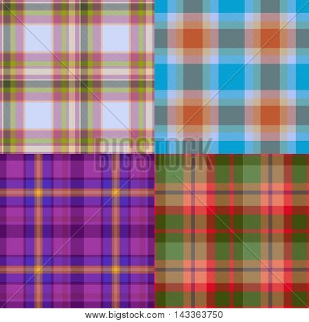 Set of tartan pattern seamless generated textures