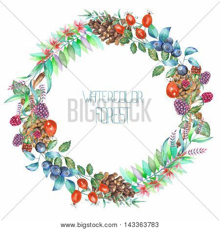 A circle frame, wreath with a floral ornament of the watercolor forest elements (berries, cones, leaves and branches) for a text on a white background, a greeting card or wedding invitation