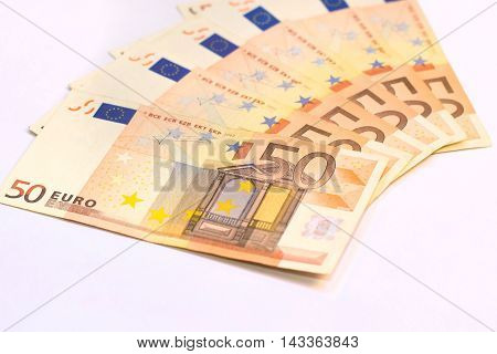 Euros banknotes on white background - 50 euros