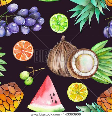 A seamless fruit pattern with the watercolor hand-drawn fruits: grapes, pineapple, coconut, lemon, lime, watermelon, citrus and other. Painted on a black (dark) background.
