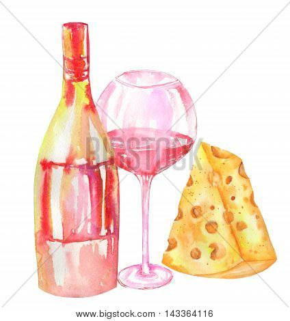 An illustration of the isolated watercolor bottle of the red wine (champagne), glass with red wine, cheese. Painted hand-drawn in a watercolor on a white background.