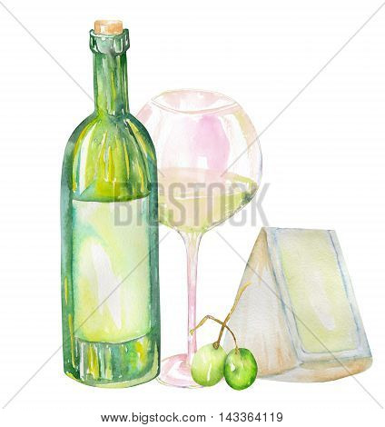 An illustration of the isolated watercolor white wine bottle, glass of the white wine, Brie cheese and green grape. Painted hand-drawn in a watercolor on a white background