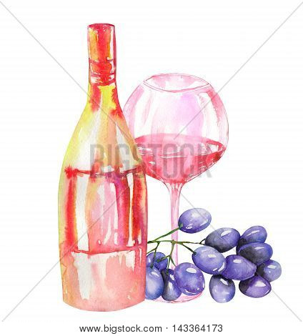 Image of the isolated watercolor red wine (champagne) bottle, bunch of blue (violet) grapes and glass of the red wine. Painted hand-drawn in a watercolor on a white background.