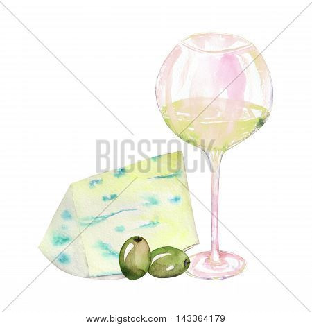 An illustration of the isolated watercolor glass with white wine, blue cheese and green olives. Painted hand-drawn in a watercolor on a white background.