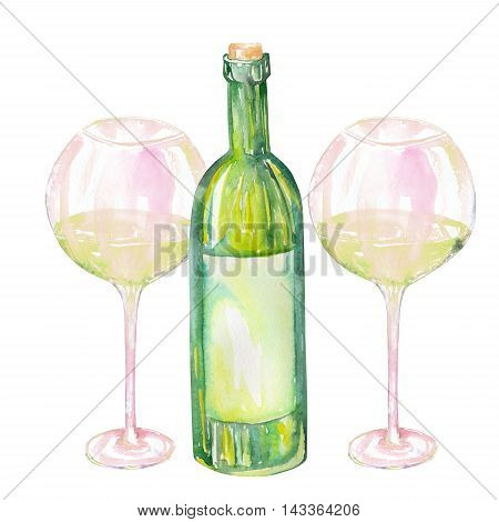 Image of the isolated watercolor glasses of white wine and wine (champagne) bottle. Painted hand-drawn in a watercolor on a white background.