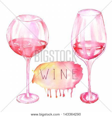 An illustration of the isolated watercolor glasses of red wine. Painted hand-drawn in a watercolor on a white background.