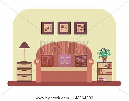 Living room interior design with modern furniture: sofa, table lamp, bookcase, pictures, drawer unit, Flat style vector illustration.