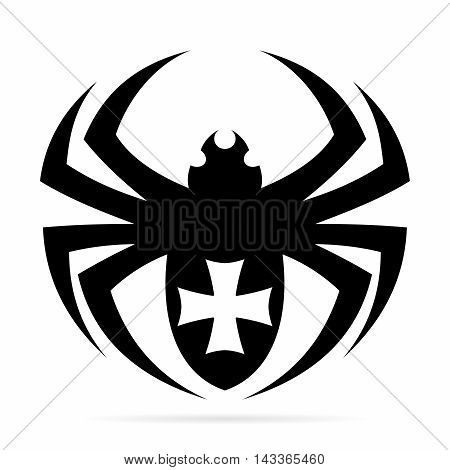 Vector Monochrome Tribal Tattoo of Black Spider with Elegant Cross symbol Illustration, isolated on white background