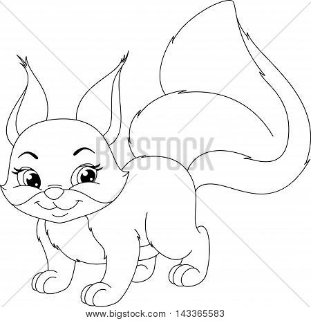 Cute squirrel on white background, Coloring Page