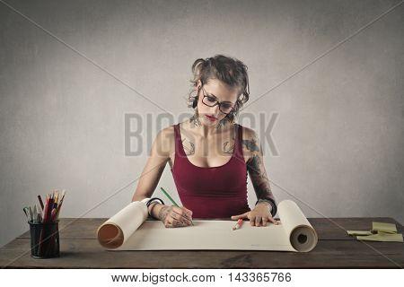 Creative girl drawing