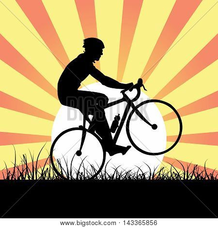 Vector Athlete Male Cyclist Riding bicycle in Wild, on sunburst poster background