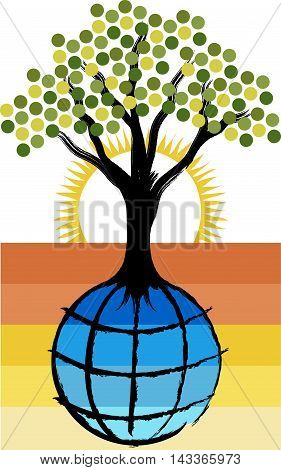 Illustration art of a globe tree logo with isolated background