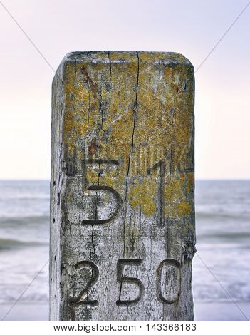Wooden post and sea background. Wooden pillar close-up shot.