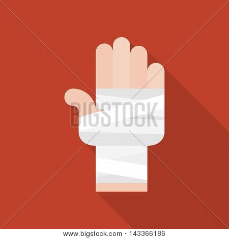 Vector hand and bandage icon, flat design
