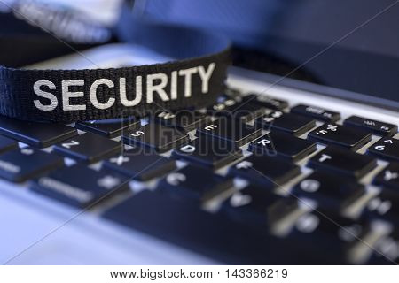 word security on labtop keyboard symbolized fraud and cyber crime protection