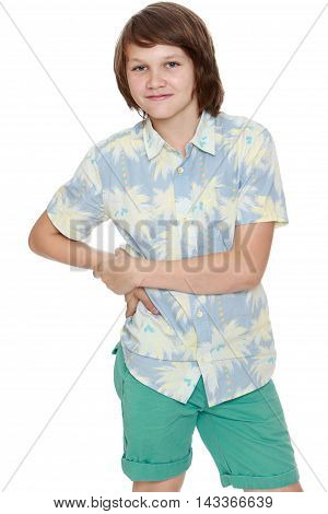 Portrait of a young man in shorts and a shirt with short sleeves. Close-up  - Isolated on white background