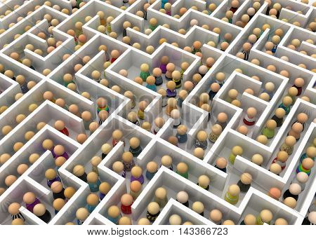 Crowd of small symbolic figures white labyrinth 3d illustration horizontal