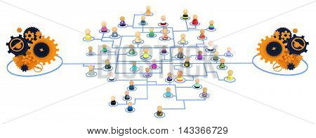 Group of small symbolic figures linked by lines 3d illustration isolated horizontal