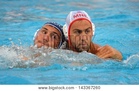 Budapest, Hungary - Jul 17, 2014. Men at work. The Waterpolo European Championship was held in Alfred Hajos Swimming Centre in 2014.