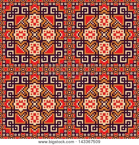 Seamless background in orange, violet, red and yellow colors . Vector illustrations. Use this pattern in the design of carpet, shawl, pillow, textile, wrapping paper, wallpaper, ceramic tiles