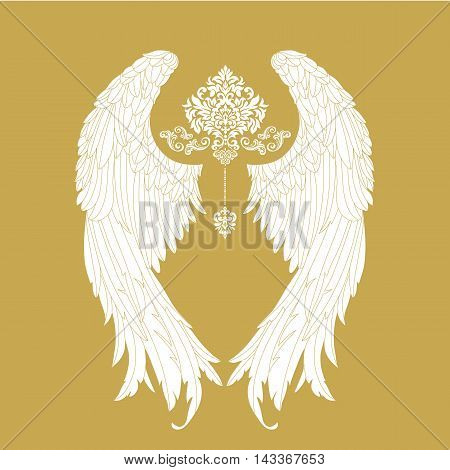 Hand drawn angel wings, vector, gothic .