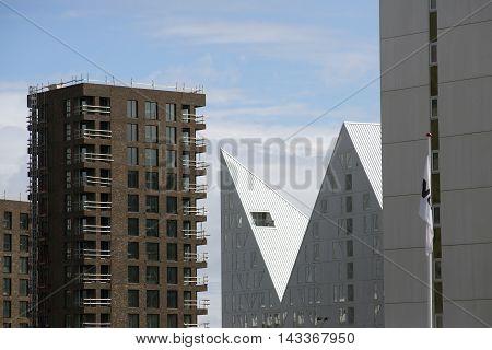 AARHUS DENMARK - AUGUST 14 2016: New modern apartment buildings with balconies on the port of Aarhus August 14 2016