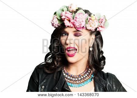 Happy Woman Winking. Fanny Fashion Model. Makeup and Flower Wreath