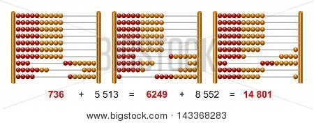 European abacus counting frame sample calculation. Calculating tool with beads sliding on wires. Used in pre- and in elementary schools as aid in teaching the numeral system and arithmetic or as toy.