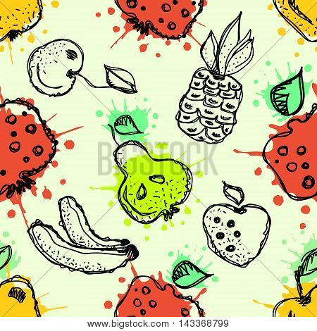 Seamless vector pattern. Hand drawn fruits illustration of colorful cherry pomegranate pineapple banana pear berry strawberry with splash and drop on the white background. Line drawing