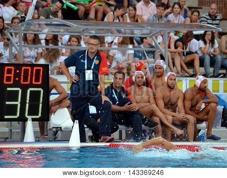 Budapest, Hungary - Jul 17, 2014. Rest of the team of Montenegro. The Waterpolo European Championship was held in Alfred Hajos Swimming Centre in 2014.